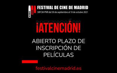 Ampliación del plazo de inscripción del Festival de Cine de Madrid (FCM-PNR) hasta el 20 de junio